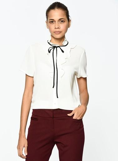 Volanlı Kısa Kollu Gömlek-Koton